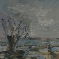 Am Altrhein im Winter, 30 x 30 cm