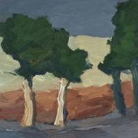 Bäume am Wegrand, 30 x 30 cm
